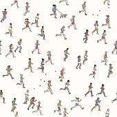 A diverse collection of small hand drawn men and women running from left to right