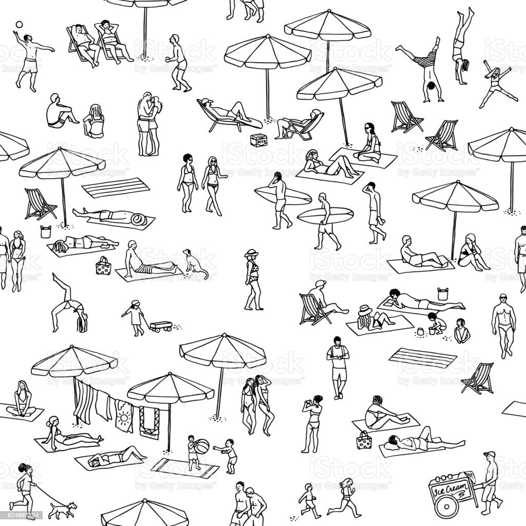 Seamless pattern of tiny people at the beach royalty-free seamless pattern of tiny people at the beach stock vector art & more images of activity