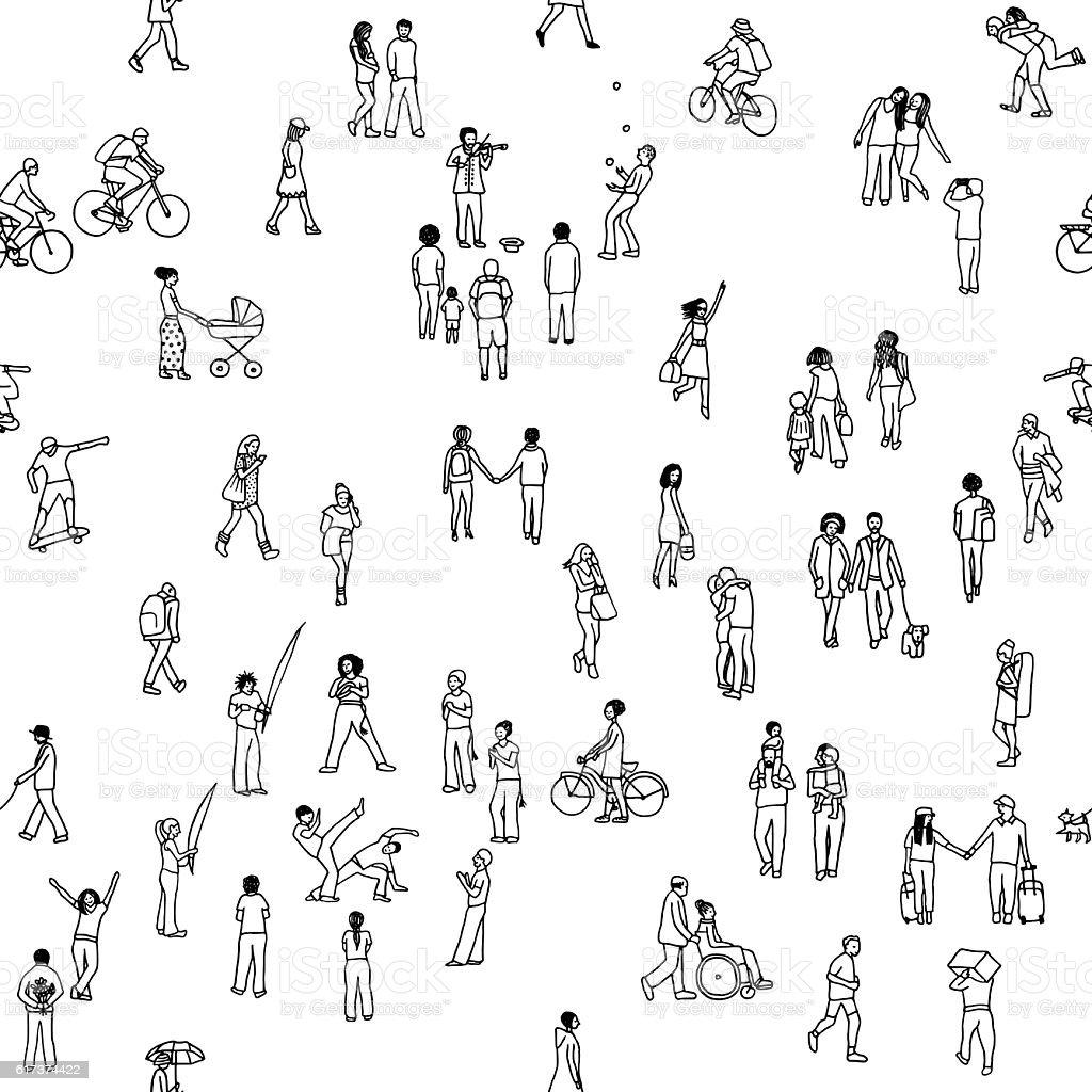 Seamless pattern of tiny people - ilustração de arte em vetor