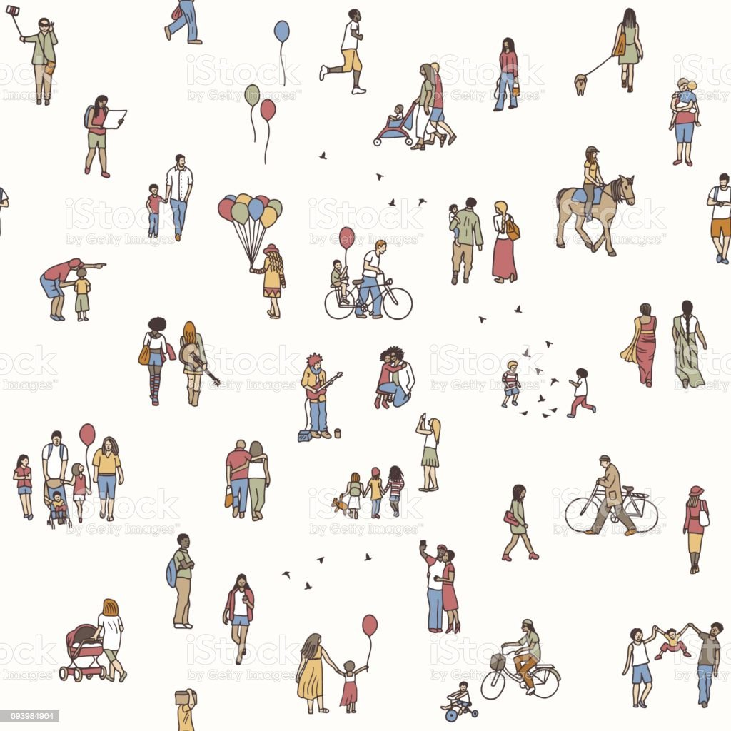 Seamless pattern of tiny people royalty-free seamless pattern of tiny people stock vector art & more images of activity