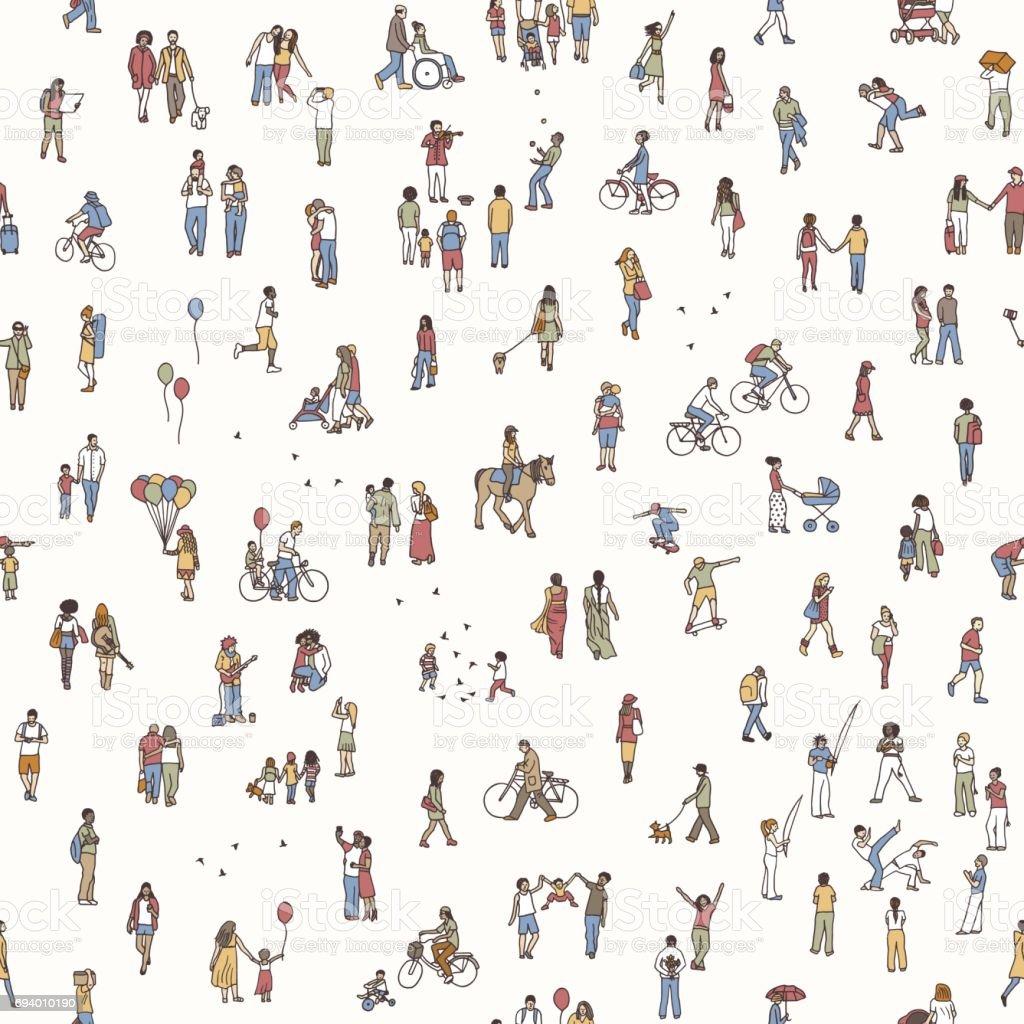 Seamless pattern of tiny people vector art illustration