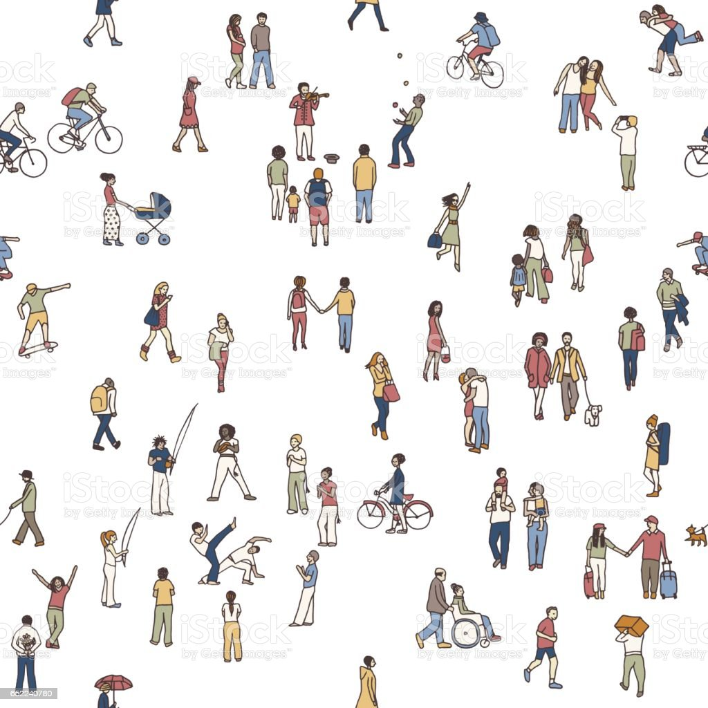 Seamless pattern of tiny people, white background vector art illustration