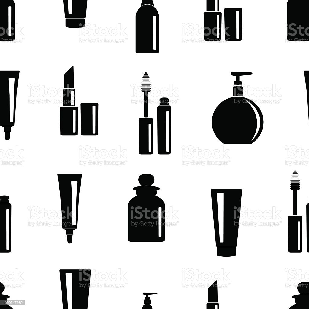Seamless pattern of toiletries icons vector art illustration