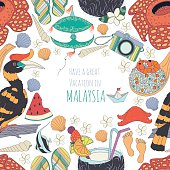 Seamless pattern of traditional things in Malaysia