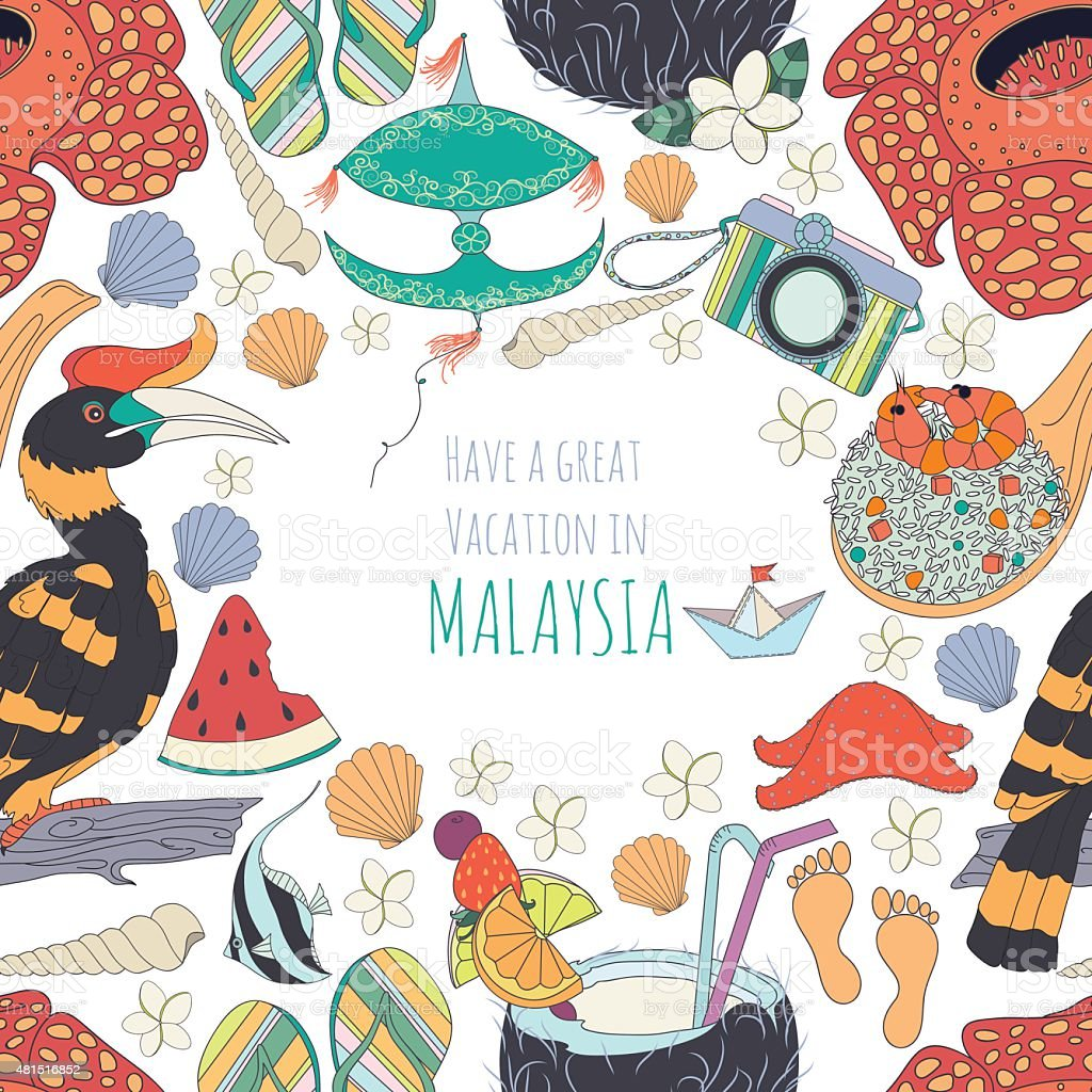 Seamless pattern of traditional things in Malaysia vector art illustration