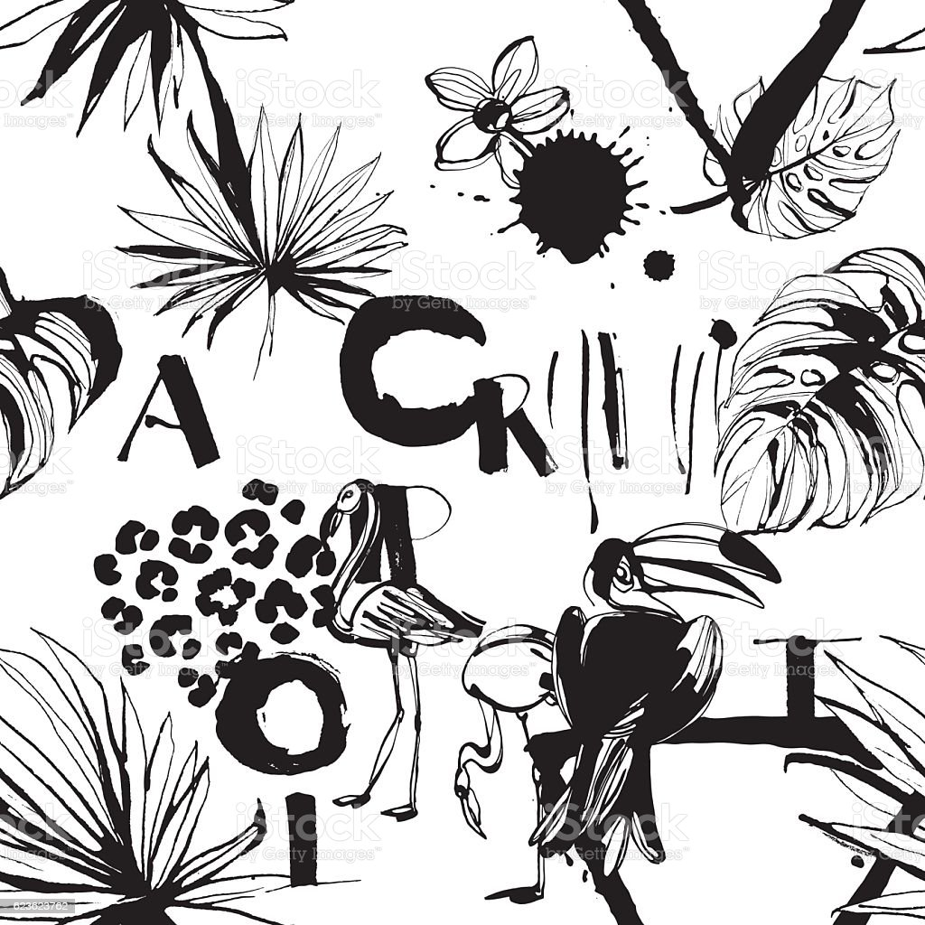 Seamless pattern of Tropical birds, palms, flowers and letters. - ilustración de arte vectorial