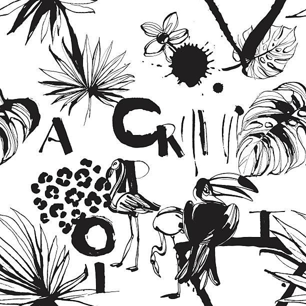ilustrações, clipart, desenhos animados e ícones de seamless pattern of tropical birds, palms, flowers and letters. - viagem de primeira classe