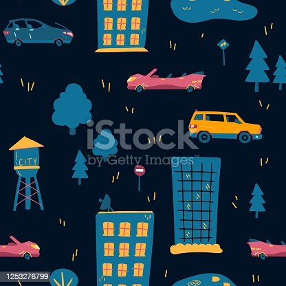 Seamless pattern of urban vehicles. Cartoon transportation background for kids. Doodle children toy cars illustration on dark background. Vector