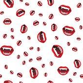 Seamless pattern of vampire lips on white background.  Vector illustration