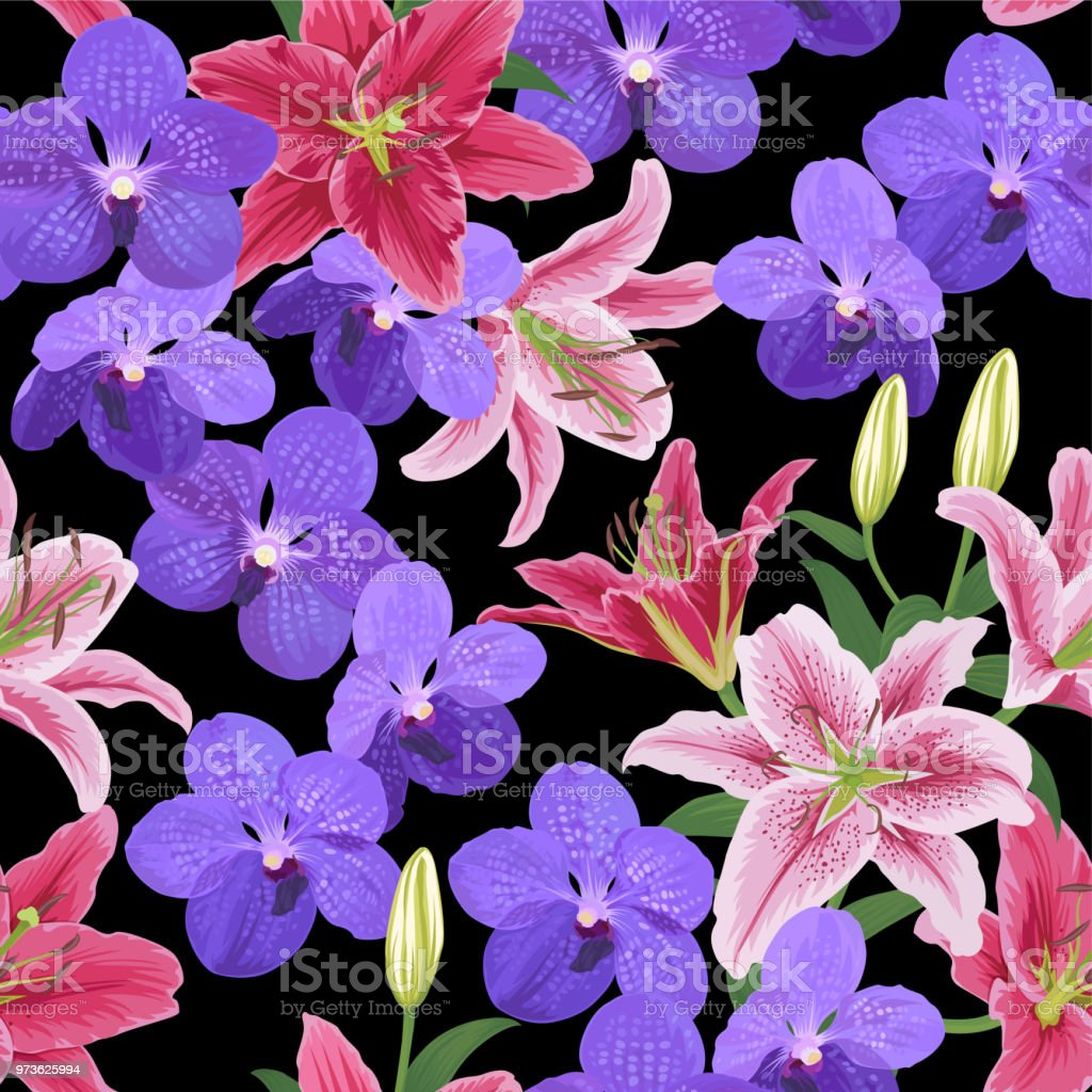 Seamless Pattern Of Vanda Orchid And Lily Flower On Black Background