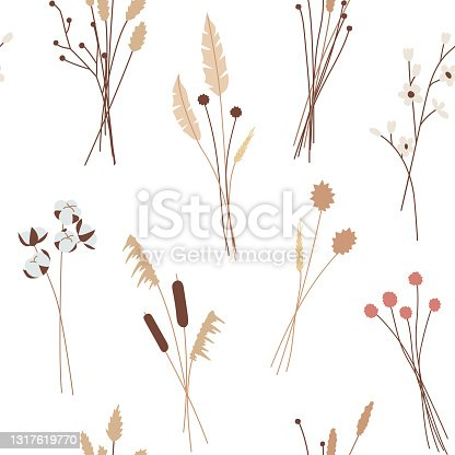 istock Seamless pattern  of various beautiful bouquets of herbs, dry plants, herbarium.  For decorative floral design textiles, clothes, wrapping and wall paper. Isolated vector illustrations in flat style 1317619770