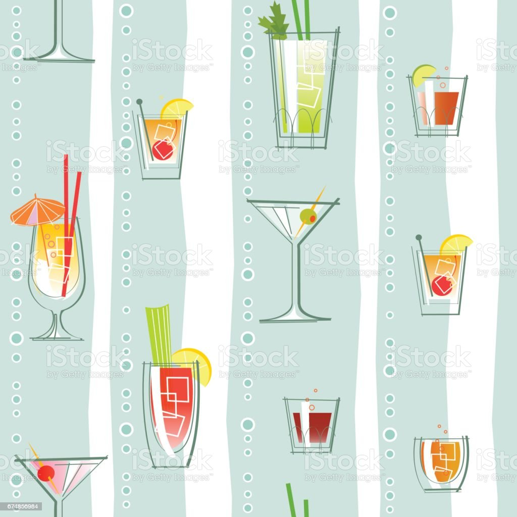 seamless pattern of various classic cocktails and stripes. Retro style vector illustration. vector art illustration