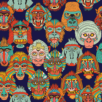 Seamless Pattern of Various Monkey Faces. Doodle Cartoon Face of Primate on White Background. Hand Drawn illustration.
