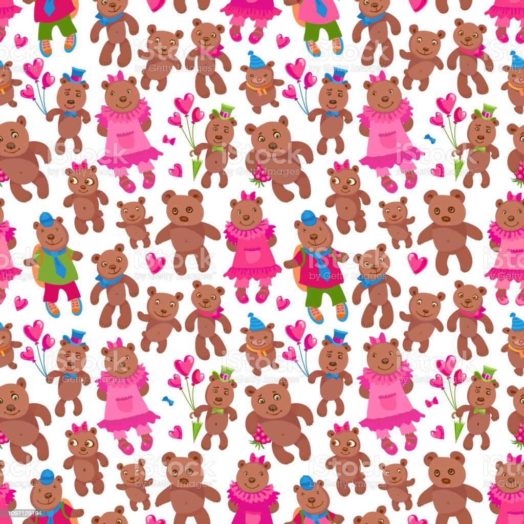 Funny Teddy bear boy friends and girl friends, heart shaped red and pink balloons, raspberry. Wallpaper Valentine Day print - Illustration .