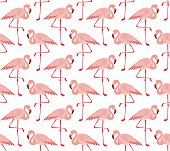 Seamless pattern of vector pink flamingo
