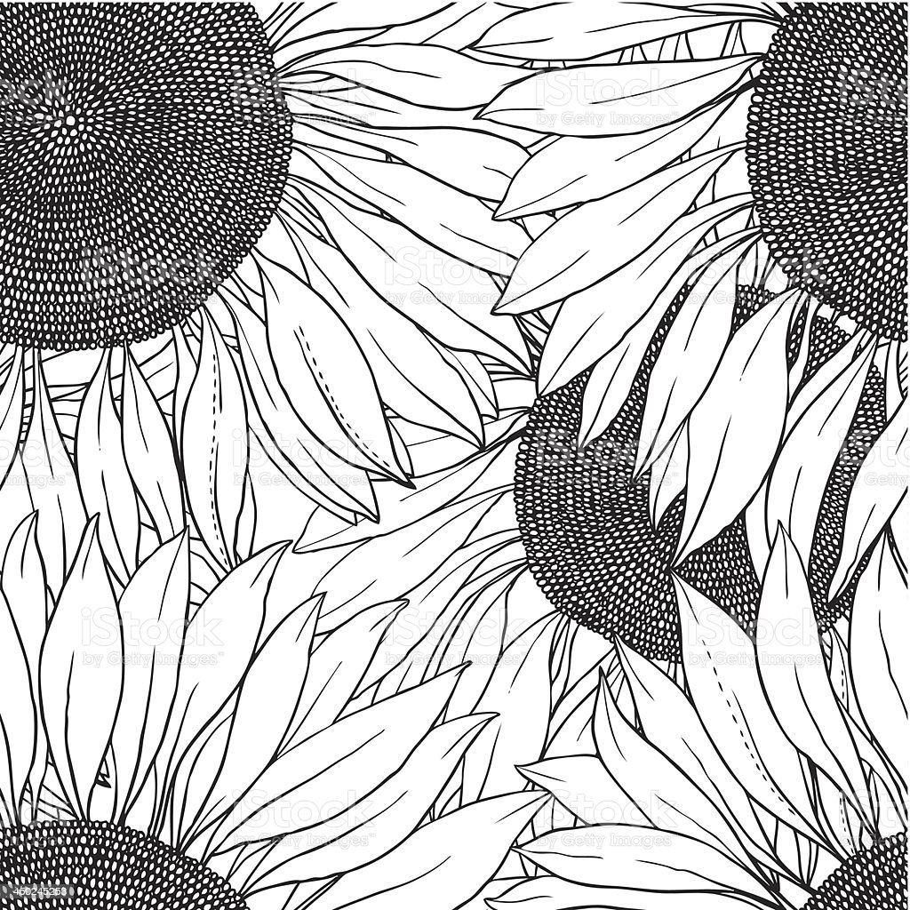 seamless pattern of vector sunflowers royalty-free seamless pattern of vector sunflowers stock vector art & more images of abstract