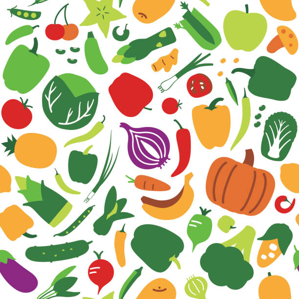 seamless pattern of vegetables and fruit. vector illustration background - 野菜点のイラスト素材/クリップアート素材/マンガ素材/アイコン素材