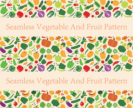 Seamless pattern of vegetables and fruit. vector illustration