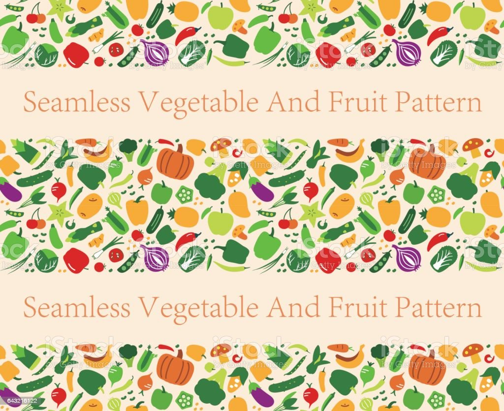Modèle sans couture de fruits et légumes. illustration vectorielle - Illustration vectorielle