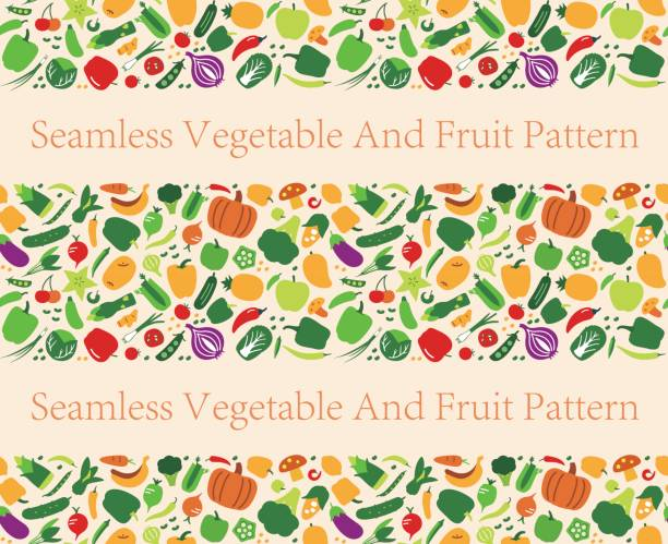 Seamless pattern of vegetables and fruit. vector illustration Seamless pattern of vegetables and fruit. vector illustration fruit backgrounds stock illustrations