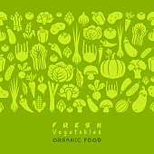 Seamless pattern of fresh vegetables.