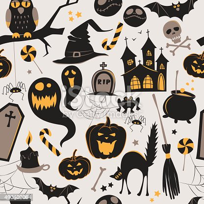 istock Seamless pattern Of Vintage Happy Halloween flat  icons. Hallowe 490402064