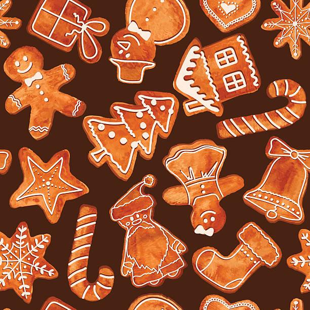 nahtlose muster mit aquarell lebkuchen cookies - weihnachtsschokolade stock-grafiken, -clipart, -cartoons und -symbole