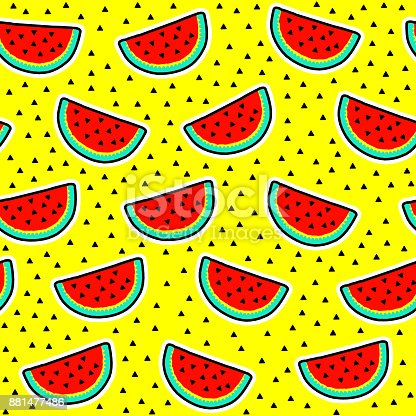 seamless pattern of watermelon slices with seeds on yellow background cool trendy vector. Black Bedroom Furniture Sets. Home Design Ideas
