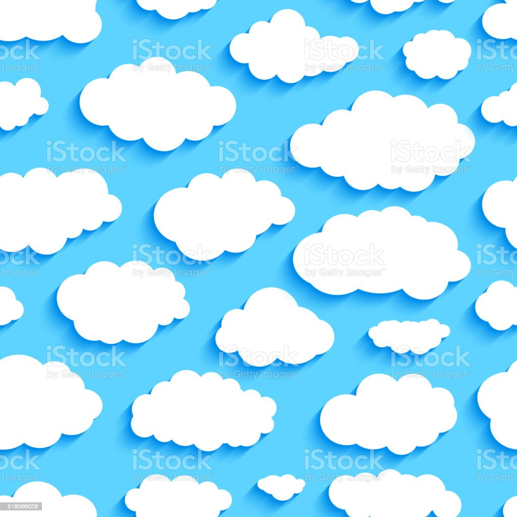 Seamless pattern of white clouds on blue sky vector art illustration