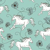 Seamless pattern of white horses and flowers