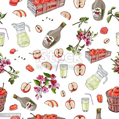 Seamless pattern of whole and sliced red apples, mulus flowers and over different elements on white background. Hand drawn and colored sketch. Vector illustration.