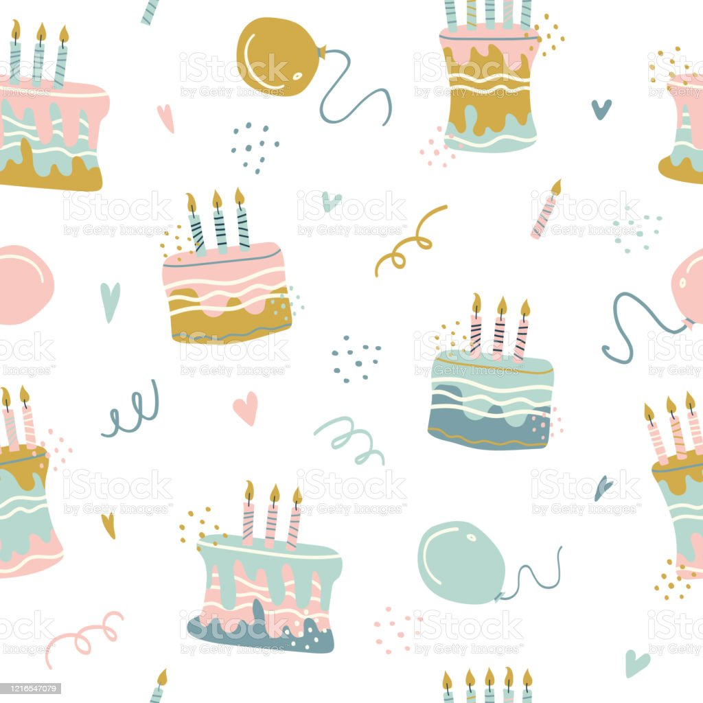 Incredible Seamless Pattern Of With Happy Birthdays Cakes Pies Tarts Muffins Birthday Cards Printable Benkemecafe Filternl