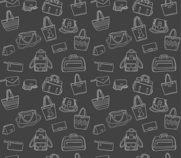 nahtlose muster von frau taschen in tafel - laptoptaschen stock-grafiken, -clipart, -cartoons und -symbole