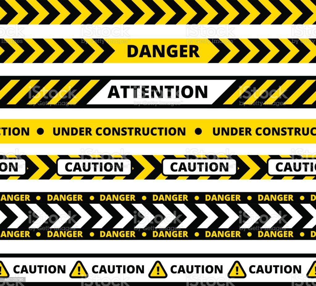 Seamless pattern of yellow danger tape vector art illustration