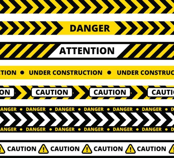 Nahtlose Muster der gelben Gefahr Band – Vektorgrafik