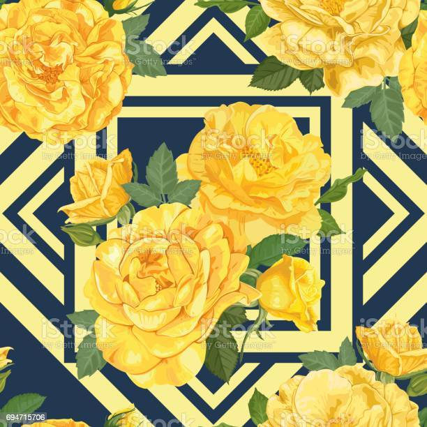 Seamless pattern of yellow roses with bud and leaves on blue graphic vector id694715706?b=1&k=6&m=694715706&s=612x612&h=uzqzsll1omfan3mnjlvrezmtfanbgadgcfxk1loyg9a=