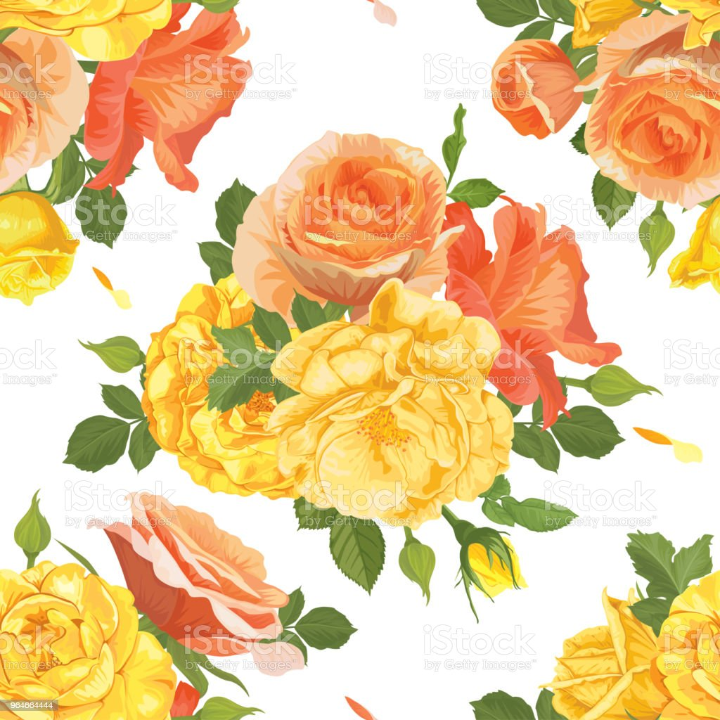 Seamless pattern of yellow roses with bud and leaves on white background. royalty-free seamless pattern of yellow roses with bud and leaves on white background stock vector art & more images of backgrounds