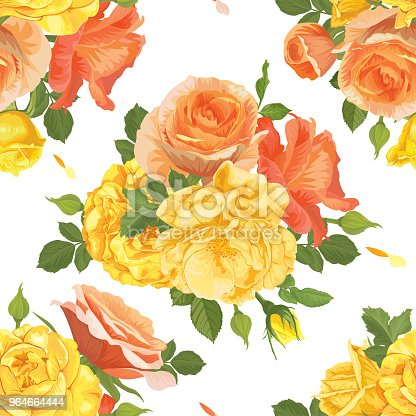 Seamless Pattern Of Yellow Roses With Bud And Leaves On White Background Stock Vector Art & More Images of Backgrounds