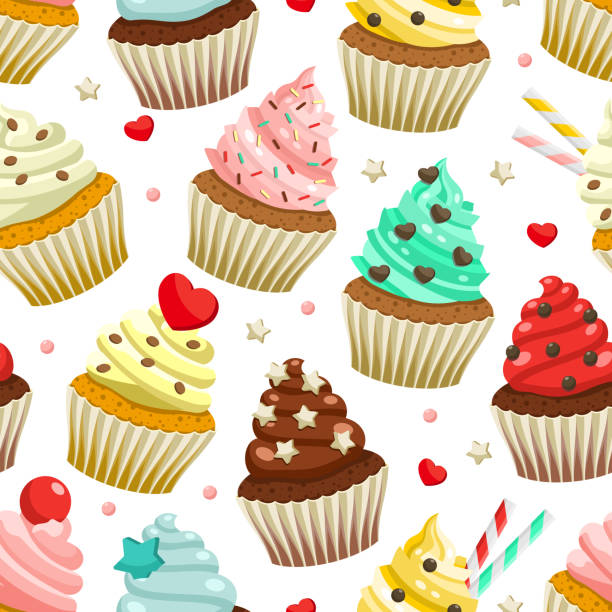 Seamless pattern of yummy colored cupcakes vector art illustration