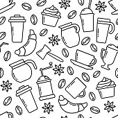 Seamless pattern on coffee theme. Black outline design. Vector illustration