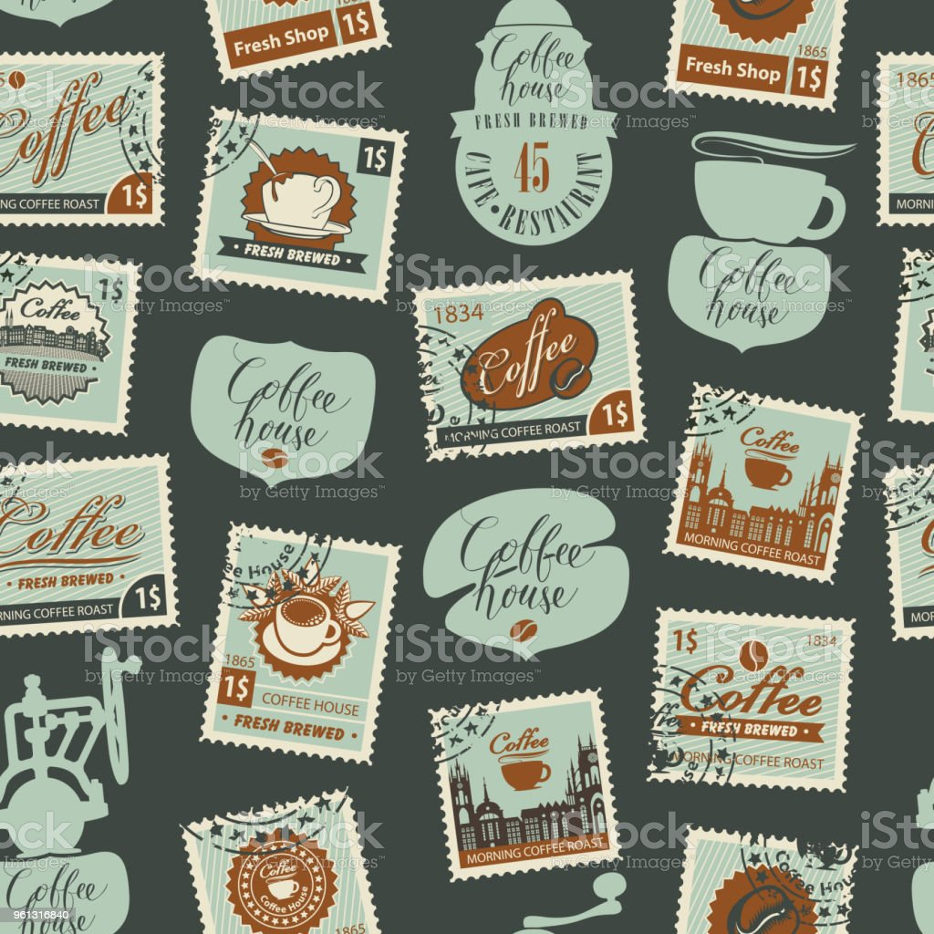 Seamless pattern on coffee theme with postmarks vector art illustration
