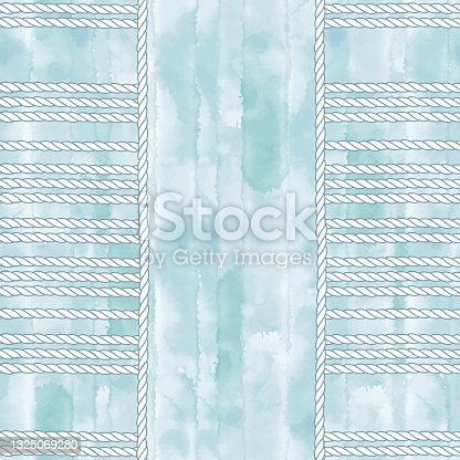 istock Seamless pattern on the marine theme with nautical ropes on a blue watercolor background.  Vector. Perfect for design templates, wallpaper, wrapping, fabric and textile. 1325069280