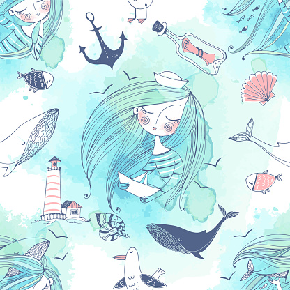 Seamless pattern on the sea theme with cute girls, whales and seagulls in a cute Doodle style with watercolors. Vector