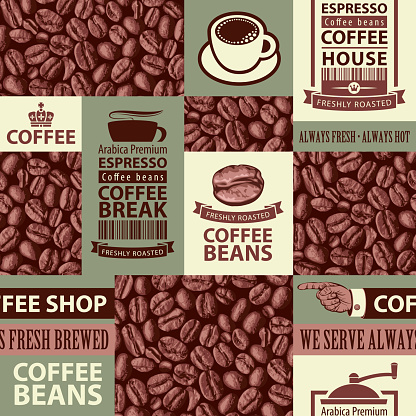 seamless pattern on the theme of coffee house