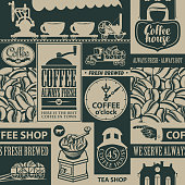Vector seamless pattern on coffee and coffee house theme with inscriptions and illustrations in retro style. Can be used as wallpaper, wrapping paper or fabric