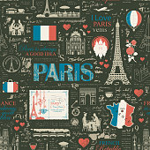 Vector seamless pattern on the France and Paris theme with drawings, inscriptions, architectural landmarks, map and flag of French republic on the background of black magazine page in retro style