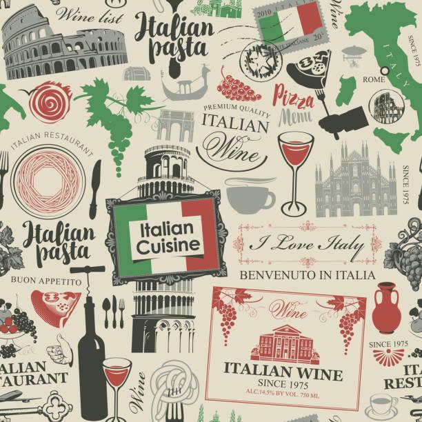 nahtloses muster zum thema der italienischen küche - pizzeria stock-grafiken, -clipart, -cartoons und -symbole