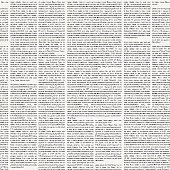 Vector seamless pattern with newspaper columns. Text in newspaper page unreadable. Black and white repeating newspaper vector background.