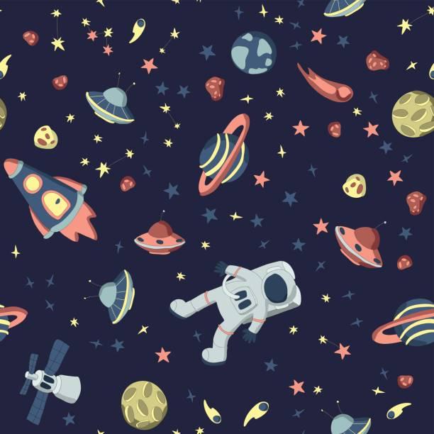 宇宙をテーマとしたシームレスなパターン。開いているコスモス、宇宙船、様々 な惑星、星や小惑星のセットで宇宙飛行士。ベクトルの図。 - 宇宙探検点のイラスト素材/クリップアート素材/マンガ素材/アイコン素材