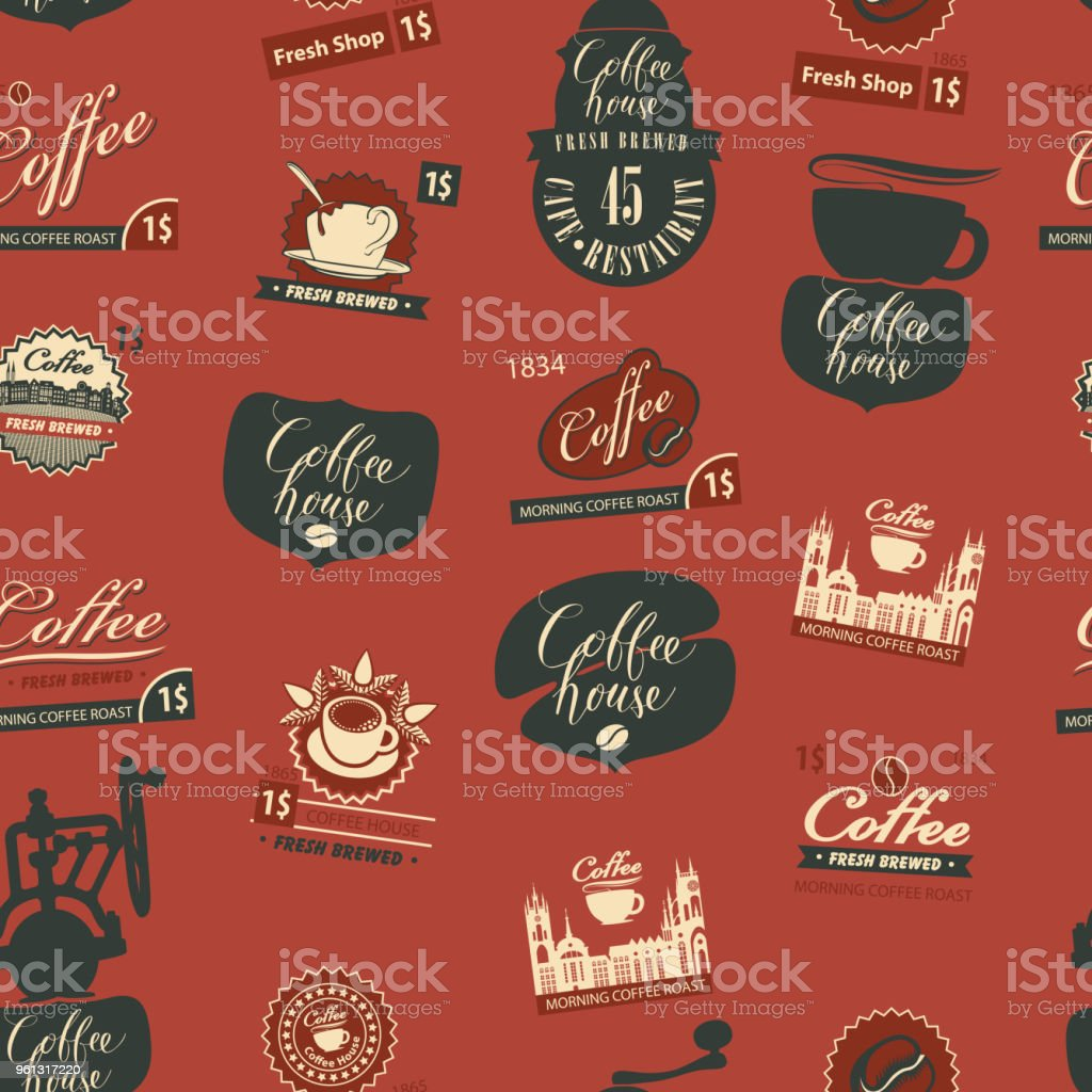 Seamless pattern on theme of coffee house vector art illustration